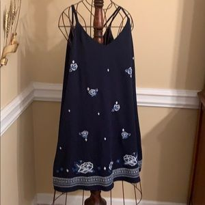 Summer lined dress with spaghetti straps